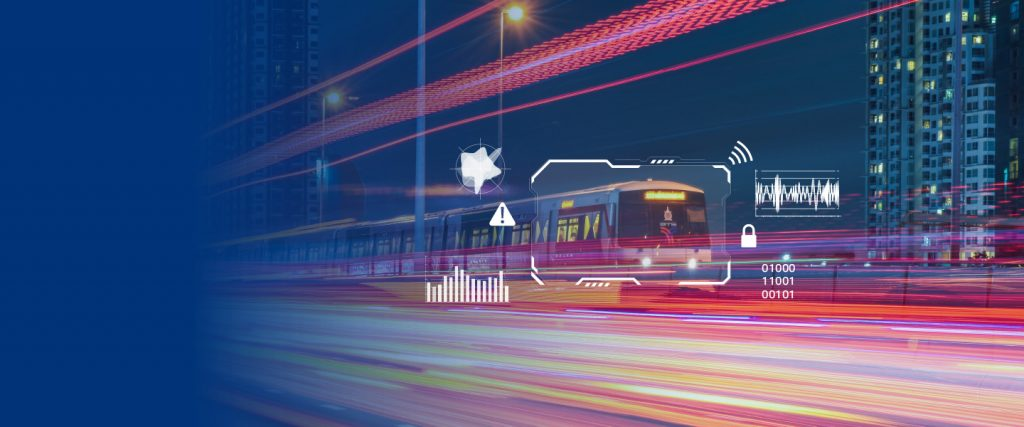 A fast moving train surrounded by data images