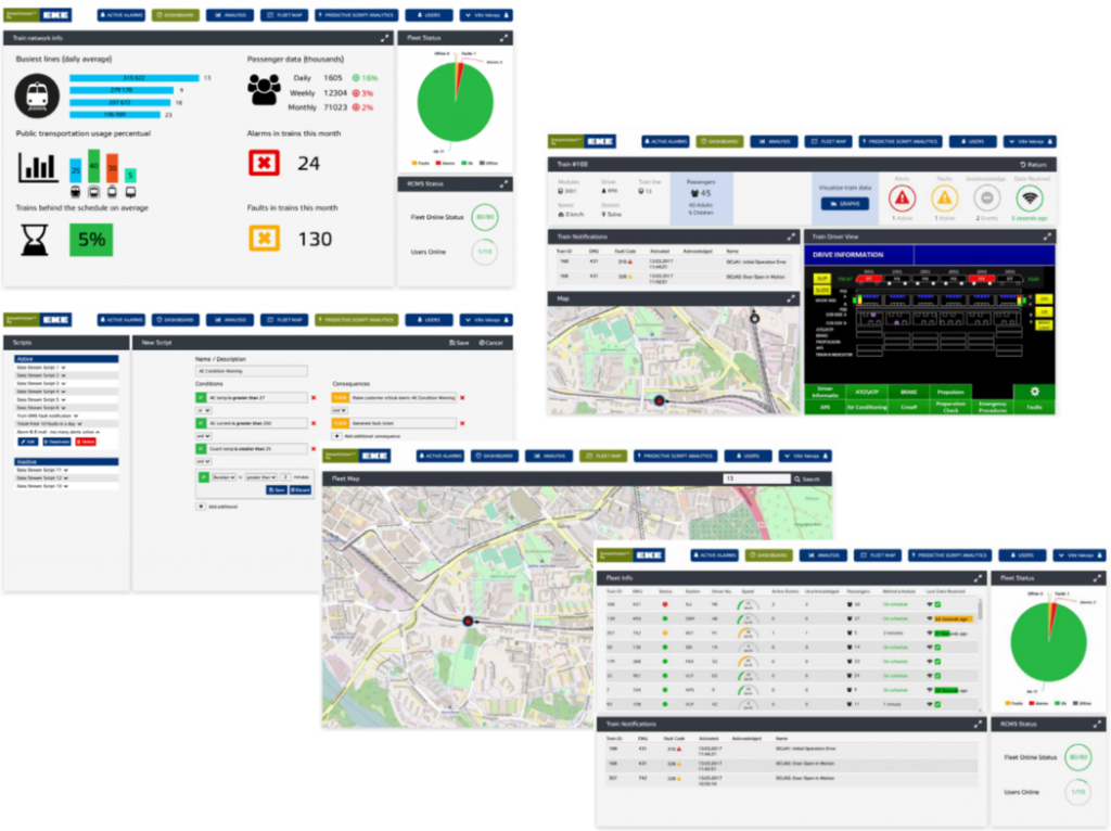 A collection of screen shots from the SmartVision software