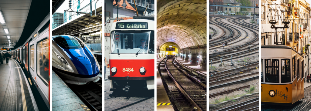 A collage of six images. From left to right: an underground train, a blue modern train in a station, a red metro train, a yellow train in a tunnel. train tracks, a yellow tram going down a hill.
