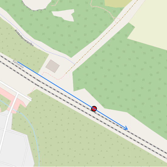 A screenshot from the track condition monitoring user interface  showing a red marker indicating a severe shock detection with a blue arrow showing the trains direction of travel